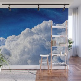 White Cumulus Clouds In The Blue Sky Wall Mural