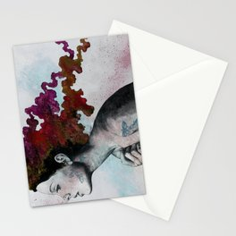 Moral Red Eclipse (colorful hair woman with moths tattoos) Stationery Cards