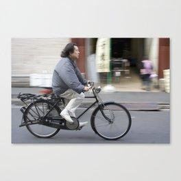 Riding a bike near Tsukiji Fish Market Canvas Print