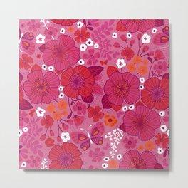 Vintage Florals in Pink and Scarlet Metal Print
