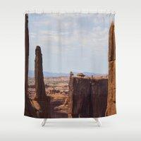 utah Shower Curtains featuring Monuments - Moab,Utah by Susy Margarita Gomez
