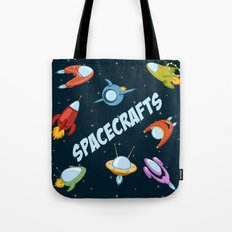 Spacecraft and rockets flying the stars Tote Bag