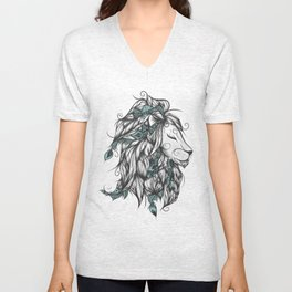 Poetic Lion Turquoise Unisex V-Neck