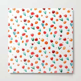 Watercolor tulips pattern - orange Metal Print