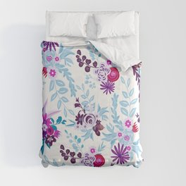 Abstract pastel blue pink country flowers pattern Comforters