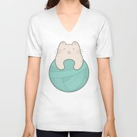 knit V-neck T-shirts featuring knit cat by kim vervuurt
