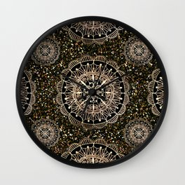 Rose Gold Mandalas with Brown and Copper Sparkles Wall Clock