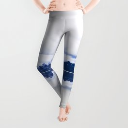 Navy blue Mountains Against Lake With Clouds Leggings