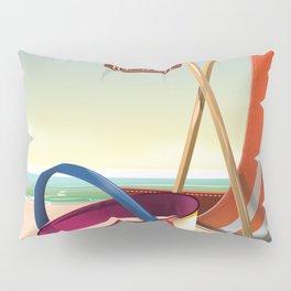 Visit the Seaside vintage travel poster. Pillow Sham
