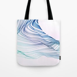 Etherial Wave - blue, mint and pale pink on white Tote Bag