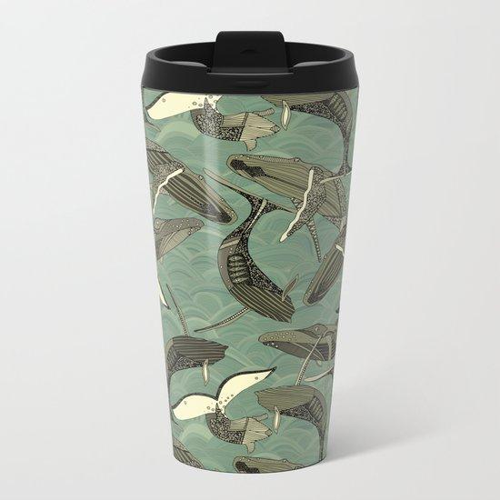 whales and waves aqua Metal Travel Mug