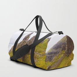 Icelandic Grassland Landscape Pointy Mountains Rocks Duffle Bag