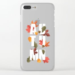 Autumn word and leaves WHITE Clear iPhone Case