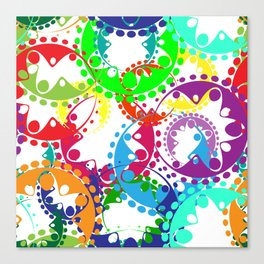 Texture of bright colorful gears and laurel wreaths in kaleidoscopic style. Canvas Print