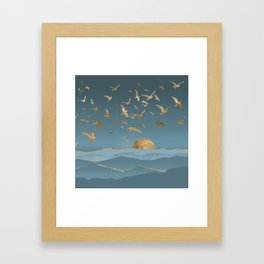 Blueprint and Gold Sea Scape Framed Art Print