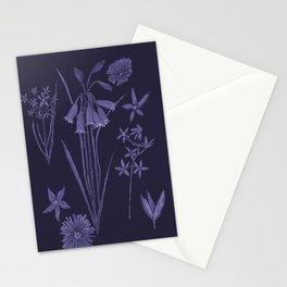 Wildflowers in dark blue Stationery Cards
