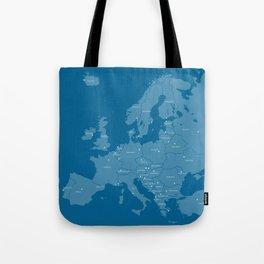 Europe map - blue Tote Bag