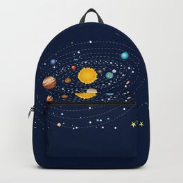 Cartoon solar system and planets around sun Backpack