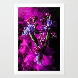 Purple Floral Smoke Bouquet  Art Print