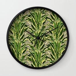 Geometric Palm Leaf Pattern - Black White Gold Wall Clock