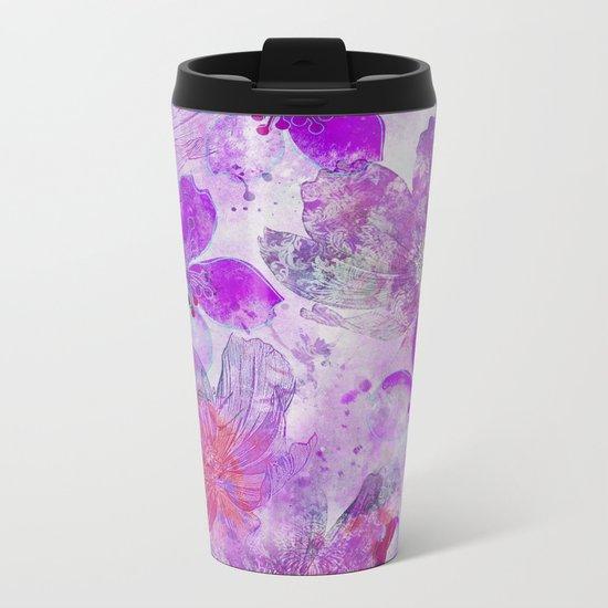 Pink Purple Watercolor Painted Flower Mix Metal Travel Mug