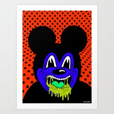 MOUSE SICK.  (On Red). Art Print