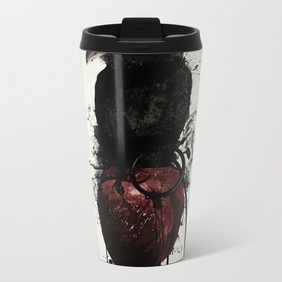Raven and Heart Grenade Metal Travel Mug