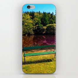 Bench at the pond iPhone Skin