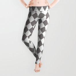 Dovecote Grey Modern Diamond Pattern on White Leggings