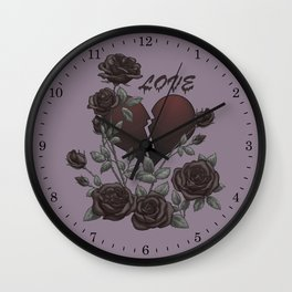 Black Roses Broken Heart Lost Love Wall Clock