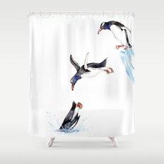 Jumping Penguin Shower Curtain