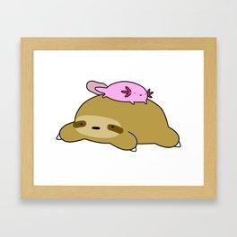 Axolotl and Sloth Framed Art Print