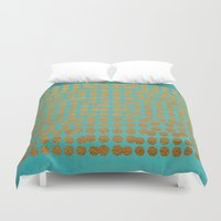 gold dots Duvet Covers featuring Gold Dots on Turquoise by Sandra Arduini