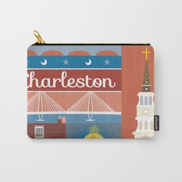 Charleston, South Carolina - Collage Illustration by Loose Petals Carry-All Pouch