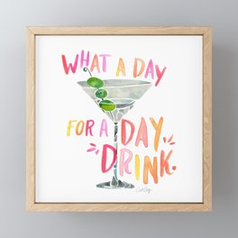 What a Day for a Day Drink – Melon Typography Framed Mini Art Print