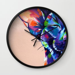 Sunbathing - Oriental Cat Painting Wall Clock