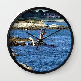 Falling Man - Cliff Diving along Newport Cliff Walk, Rhode Island by Jeanpaul Ferro Wall Clock