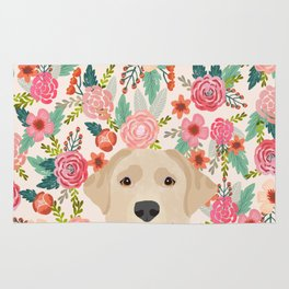 Labrador Retriever yellow lab floral pattern cute florals dog breed pure breed dog lover gifts Rug