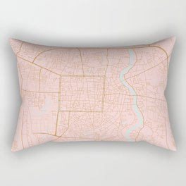Pink and gold Chiang Mai map, Thailand Rectangular Pillow