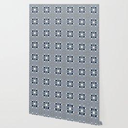 ARCHITECT steel blue, black, white check graph pattern design Wallpaper