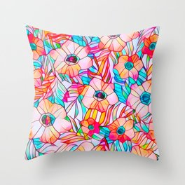 Stained Glass Poppies Throw Pillow