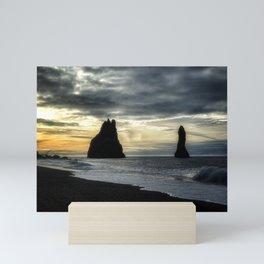 Sunset at the Black Sand Beach - Iceland Mini Art Print