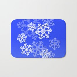 Cute dark blue snowflakes Bath Mat