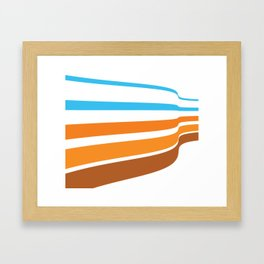 BLUE, ORANGE  AND BROWN LINES  ON A WHITE BACKGROUND Abstract Art Framed Art Print