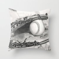 baseball Throw Pillows featuring Baseball by aurelia-art