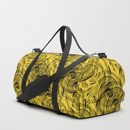 Yellow , black , abstraction , spiral Duffle Bag