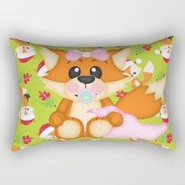 Foxy Christmas Baby Girl Rectangular Pillow