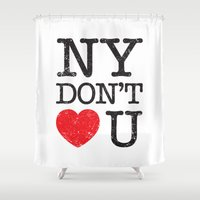 new york Shower Curtains featuring New York, New York by Text Guy