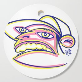 Skateboard Kid with Big Mouth and Crazy Eyes, Wearing Trucker Hat Cutting Board
