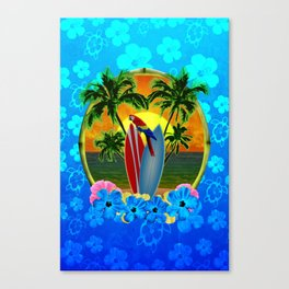 Blue Flowers Tropical Sunset Canvas Print